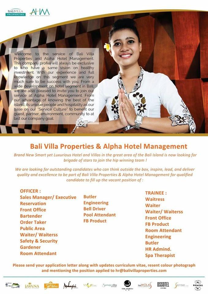 Lowongan Kerja Hotel di Bali 123- Bali Villa Properties & Apha Hotel  Management - Copy